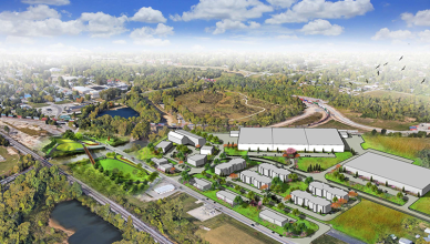 Artist rendering of Kitselman trailhead and Kitselman Pure Energy Park